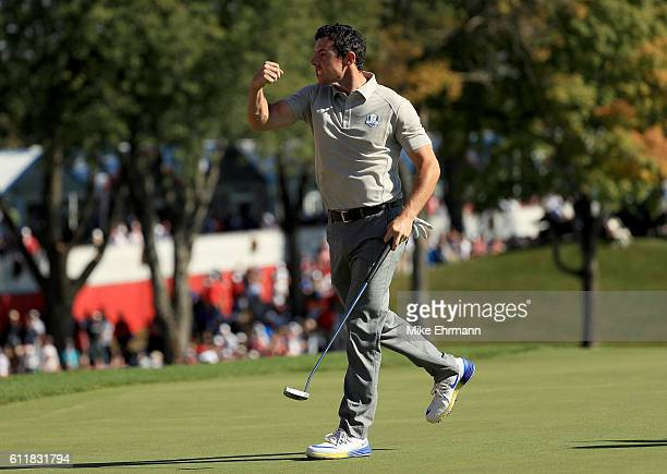 Rory McIlroy of Europe reacts after a birdie putt on the ninth green during afternoon fourball matches of the 2016 Ryder Cup at Hazeltine National...