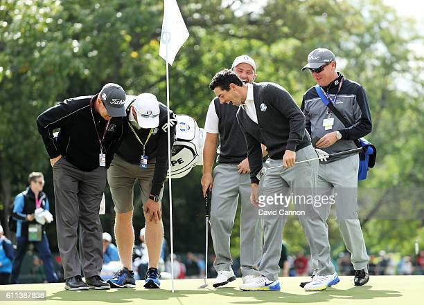 Rory McIlroy of Europe reacts after holing out for eagle during practice prior to the 2016 Ryder Cup at Hazeltine National Golf Club on September 29...