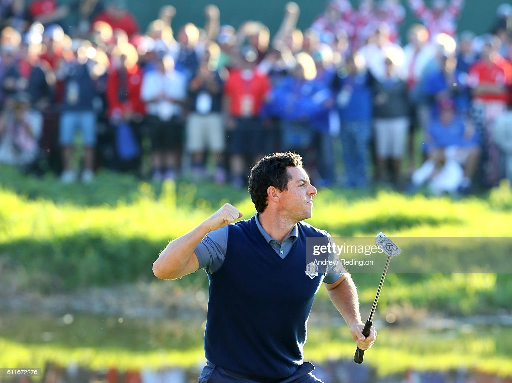 Rory McIlroy of Europe reacts on the 16th green after making a putt to win the match during afternoon fourball matches of the 2016 Ryder Cup at Hazeltine National Golf Club on September 30, 2016 in Chaska, Minnesota.