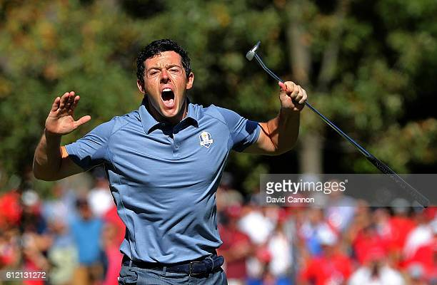Rory McIlroy of Europe reacts on the eighth green during singles matches of the 2016 Ryder Cup at Hazeltine National Golf Club on October 2 2016 in...