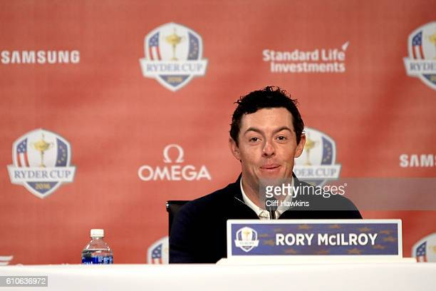 Rory McIlroy of Europe speaks during a press conference prior to the 2016 Ryder Cup at Hazeltine National Golf Club on September 27 2016 in Chaska...