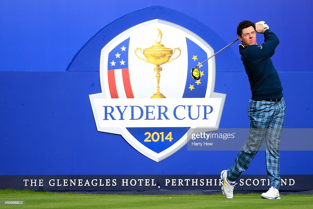 Rory McIlroy of Europe tees off during practice ahead of the 2014 Ryder Cup on the PGA Centenary course at the Gleneagles Hotel on September 23 2014...