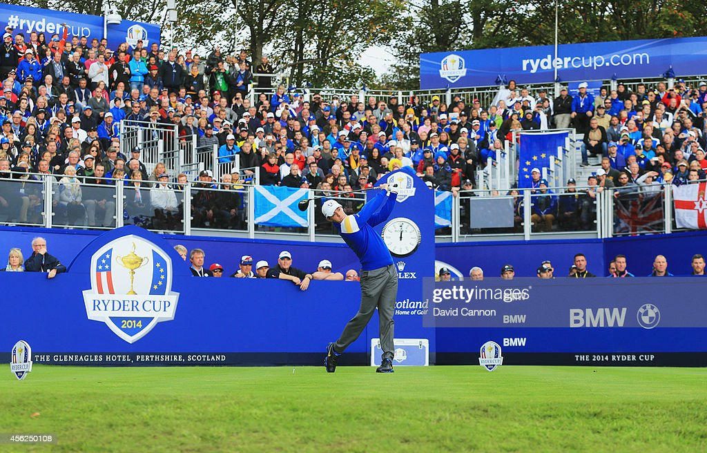 Rory McIlroy of Europe tees off on the 1st hole during the Singles Matches of the 2014 Ryder Cup on the PGA Centenary course at the Gleneagles Hotel...