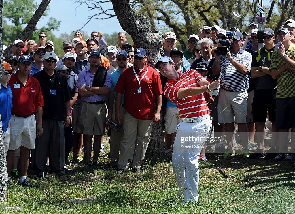 <a gi-track='captionPersonalityLinkClicked' href=/galleries/search?phrase=Rory+McIlroy&family=editorial&specificpeople=783109 ng-click='$event.stopPropagation()'>Rory McIlroy</a> of Ireland chips out of the rough on the 5th hole during the third round of the Valero Texas Open at the AT&T Oaks Course at TPC San Antonio on April 6, 2013 in San Antonio, Texas.