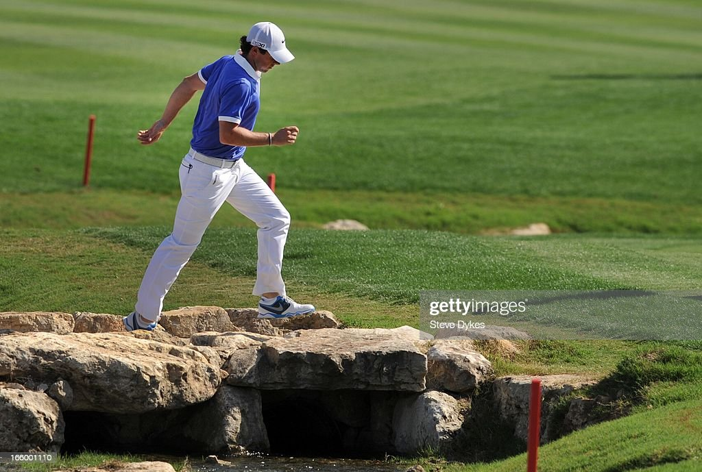 Rory McIlroy of Ireland crosses a bridge on the 18th fairway during the final round of the Valero Texas Open at the AT&T Oaks Course at TPC San Antonio on April 7, 2013 in San Antonio, Texas.