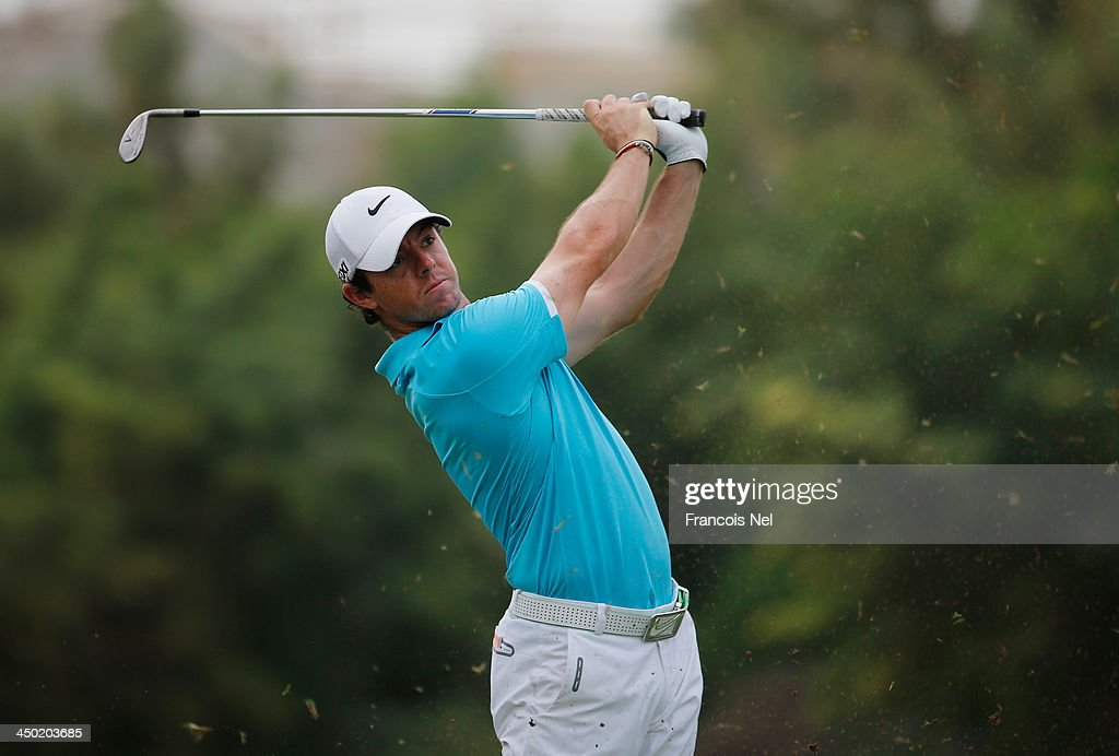 <a gi-track='captionPersonalityLinkClicked' href=/galleries/search?phrase=Rory+McIlroy&family=editorial&specificpeople=783109 ng-click='$event.stopPropagation()'>Rory McIlroy</a> of Northen Ireland plays his second shot on the 3rd hole during the final round of the 2013 DP World Championships on the Earth Course at the Jumeirah Golf Estates on November 17, 2013 in Dubai, United Arab Emirates.