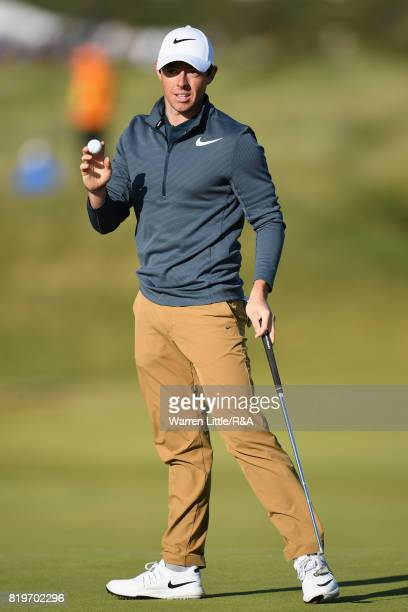Rory McIlroy of Northern Ireland acknowledges the crowd on the 16th green during the first round of the 146th Open Championship at Royal Birkdale on...