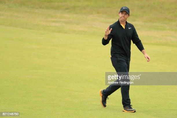 Rory McIlroy of Northern Ireland acknowledges the crowd on the 18th hole during the final round of the 146th Open Championship at Royal Birkdale on...