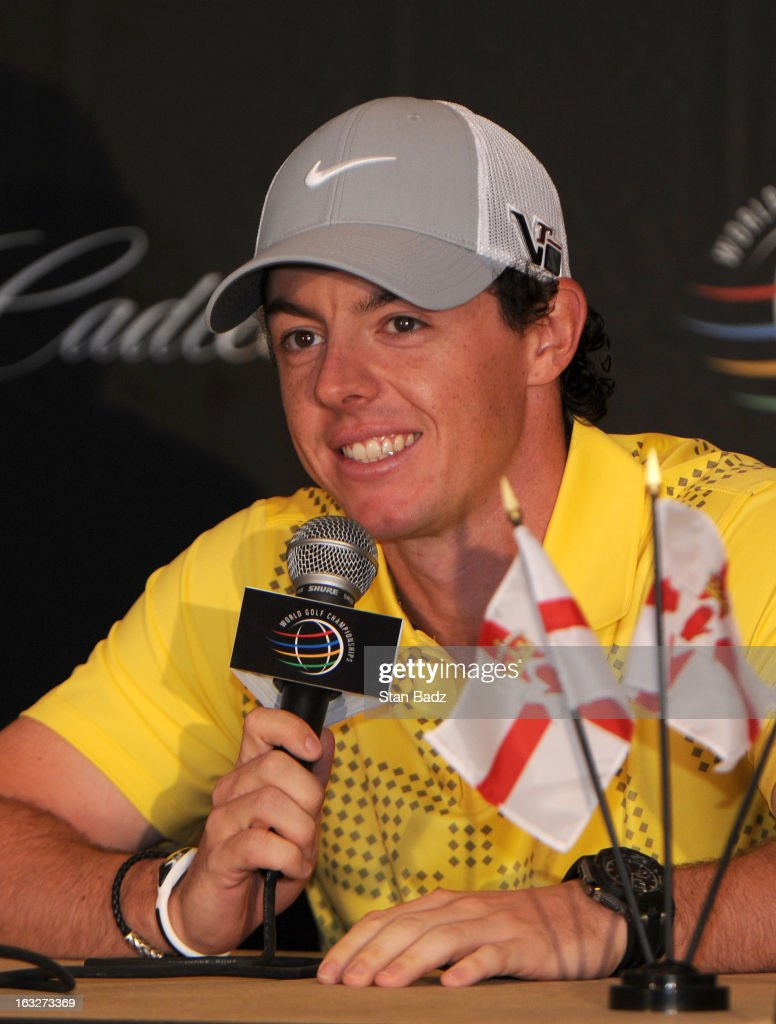 Rory McIlroy of Northern Ireland addresses the media ahead of the World Golf Championships-Cadillac Championship at TPC Blue Monster at Doral on March 6, 2013 in Miami, Florida.