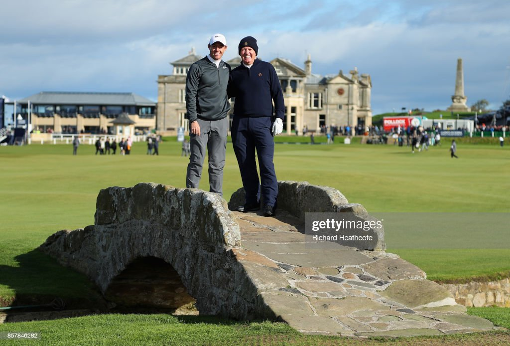 Rory McIlroy of Northern Ireland and Gerry McIlroy, father of Rory McIlroy stands on the Swilken bridge during day one of the 2017 Alfred Dunhill Championship at The Old Course on October 5, 2017 in St Andrews, Scotland.