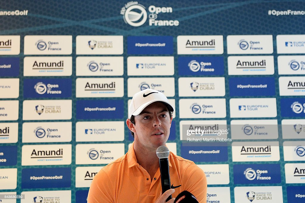 <a gi-track='captionPersonalityLinkClicked' href=/galleries/search?phrase=Rory+McIlroy&family=editorial&specificpeople=783109 ng-click='$event.stopPropagation()'>Rory McIlroy</a> of Northern Ireland answers questions at a press conference during a pro-am round ahead of the 100th Open de France at Le Golf National on June 29, 2016 in Paris, France.