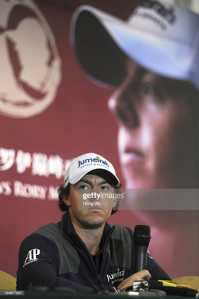 <a gi-track='captionPersonalityLinkClicked' href=/galleries/search?phrase=Rory+McIlroy&family=editorial&specificpeople=783109 ng-click='$event.stopPropagation()'>Rory McIlroy</a> of Northern Ireland attends the press conference during the Duel of <a gi-track='captionPersonalityLinkClicked' href=/galleries/search?phrase=Tiger+Woods&family=editorial&specificpeople=157537 ng-click='$event.stopPropagation()'>Tiger Woods</a> and <a gi-track='captionPersonalityLinkClicked' href=/galleries/search?phrase=Rory+McIlroy&family=editorial&specificpeople=783109 ng-click='$event.stopPropagation()'>Rory McIlroy</a> at Jinsha Lake Golf Club on October 29, 2012 in Zhengzhou, China.