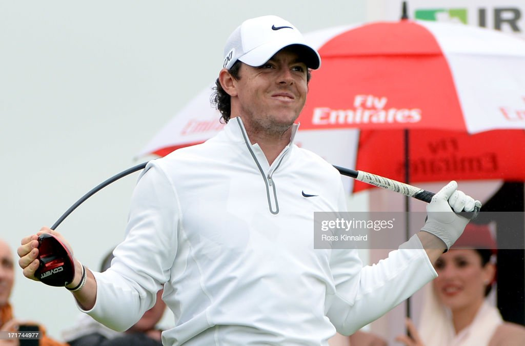 <a gi-track='captionPersonalityLinkClicked' href=/galleries/search?phrase=Rory+McIlroy&family=editorial&specificpeople=783109 ng-click='$event.stopPropagation()'>Rory McIlroy</a> of Northern Ireland bends his driver after his tee shot on the 11th tee during the second round of the Irish Open at Carton House Golf Club on June 28, 2013 in Maynooth, Ireland.