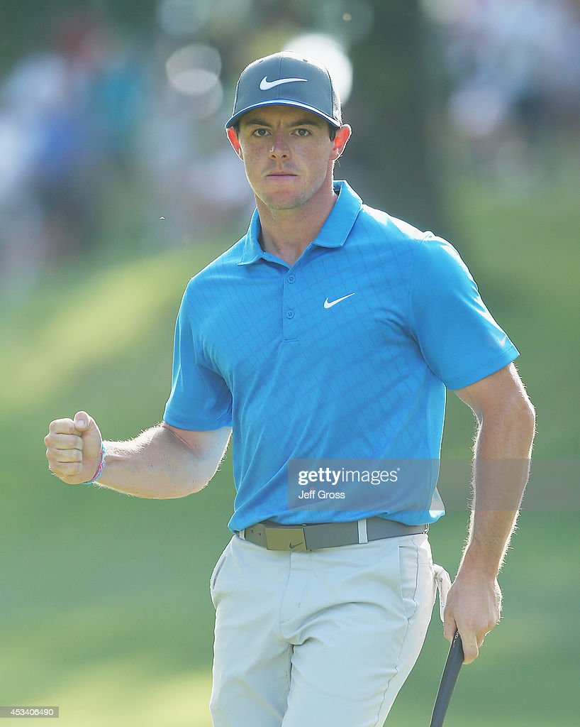 <a gi-track='captionPersonalityLinkClicked' href=/galleries/search?phrase=Rory+McIlroy&family=editorial&specificpeople=783109 ng-click='$event.stopPropagation()'>Rory McIlroy</a> of Northern Ireland celebrates a putt for birdie on the 15th hole during the third round of the 96th PGA Championship at Valhalla Golf Club on August 9, 2014 in Louisville, Kentucky.