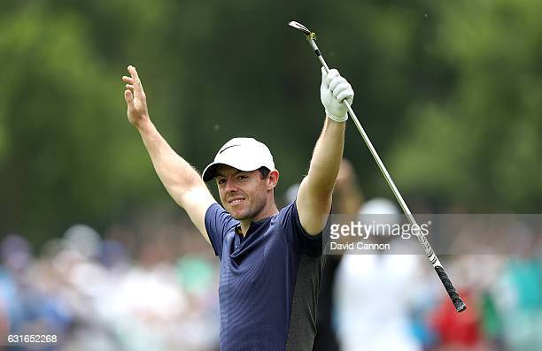 Rory McIlroy of Northern Ireland celebrates after chipping in for an eagle on the 7th hole during day three of the BMW South African Open...