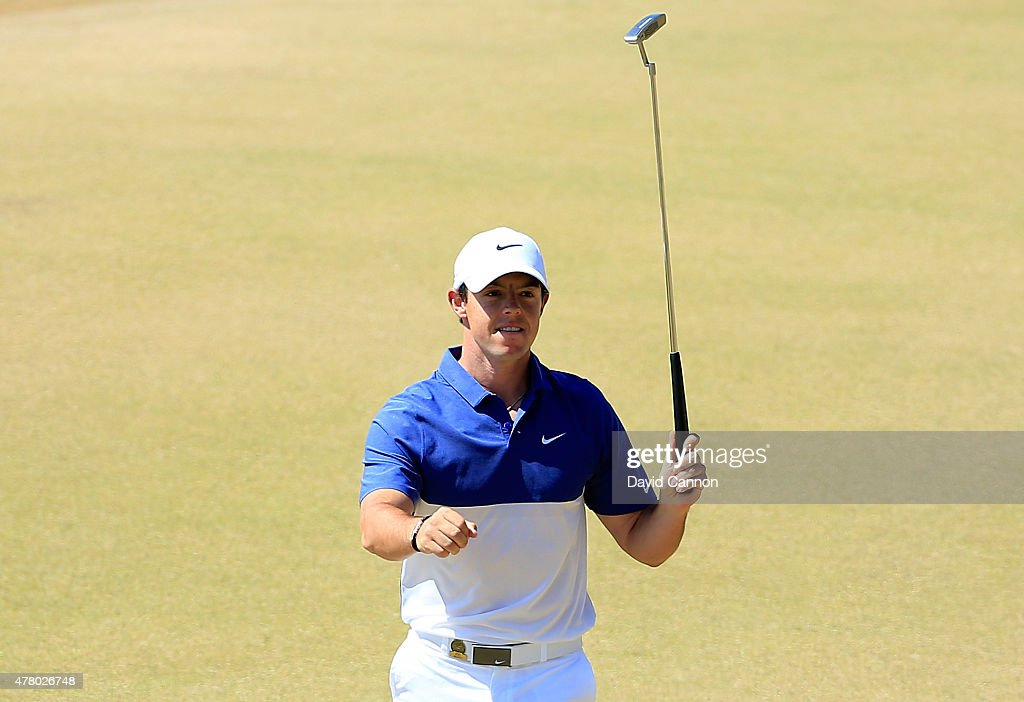 <a gi-track='captionPersonalityLinkClicked' href=/galleries/search?phrase=Rory+McIlroy&family=editorial&specificpeople=783109 ng-click='$event.stopPropagation()'>Rory McIlroy</a> of Northern Ireland celebrates after holing a long birdie putt on the 13th green during the final round of the 115th U.S. Open Championship at Chambers Bay on June 21, 2015 in University Place, Washington.