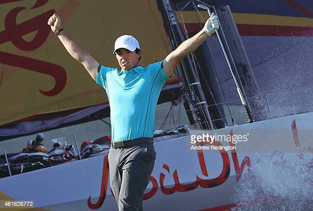 Rory McIlroy of Northern Ireland celebrates after making a holeinone on the 15th hole during the second round of the Abu Dhabi HSBC Golf Championship...