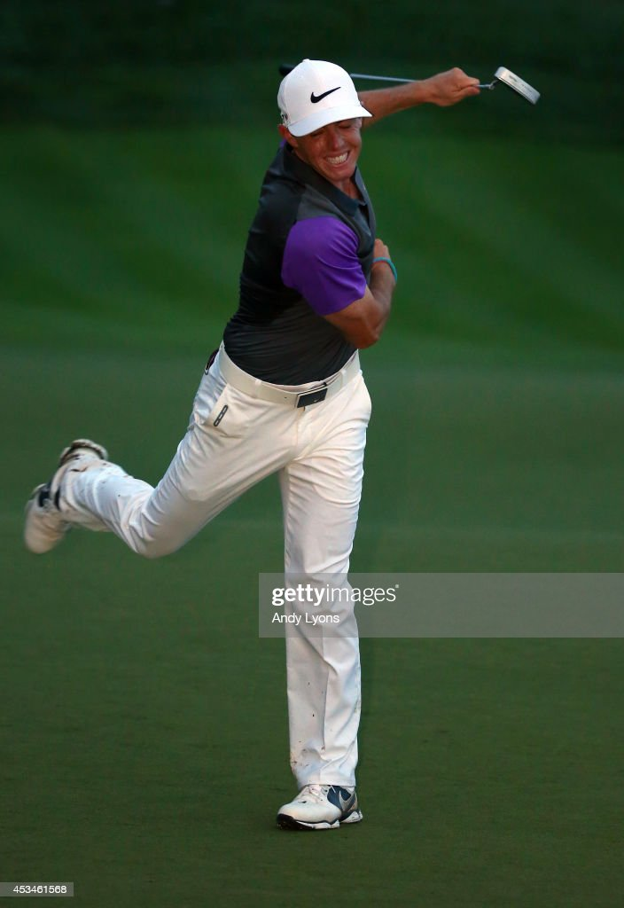 <a gi-track='captionPersonalityLinkClicked' href=/galleries/search?phrase=Rory+McIlroy&family=editorial&specificpeople=783109 ng-click='$event.stopPropagation()'>Rory McIlroy</a> of Northern Ireland celebrates his one-stroke victory on the 18th green during the final round of the 96th PGA Championship at Valhalla Golf Club on August 10, 2014 in Louisville, Kentucky.