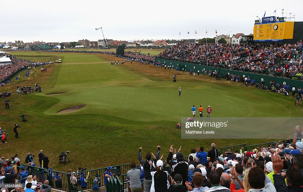 <a gi-track='captionPersonalityLinkClicked' href=/galleries/search?phrase=Rory+McIlroy&family=editorial&specificpeople=783109 ng-click='$event.stopPropagation()'>Rory McIlroy</a> of Northern Ireland celebrates his two-stroke victory on the 18th green during the final round of The 143rd Open Championship at Royal Liverpool on July 20, 2014 in Hoylake, England.