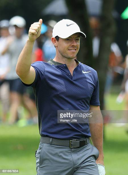 Rory McIlroy of Northern Ireland celebrates making an Eagle on the seventh hole during the third round of the BMW South African Open Championship at...