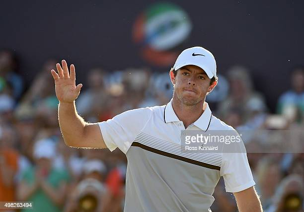 Rory McIlroy of Northern Ireland celebrates on the 18th green during the final round of the DP World Tour Championship on the Earth Course at...