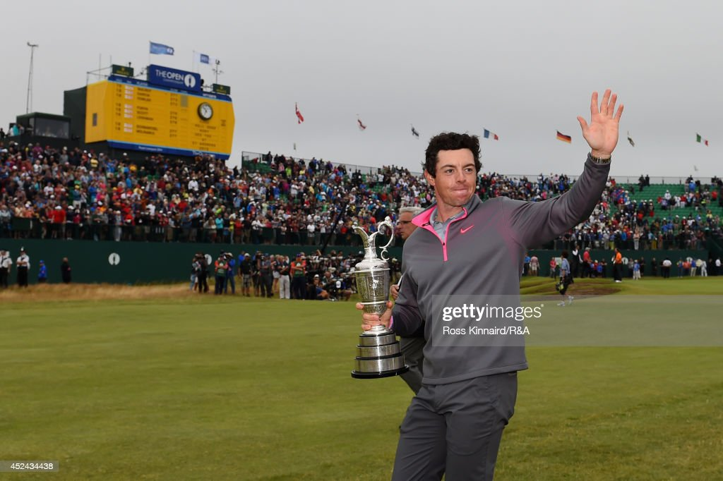 Rory McIlroy of Northern Ireland celebrates with the Claret Jug after his two-stroke victory after the final round of The 143rd Open Championship at Royal Liverpool on July 20, 2014 in Hoylake, England.