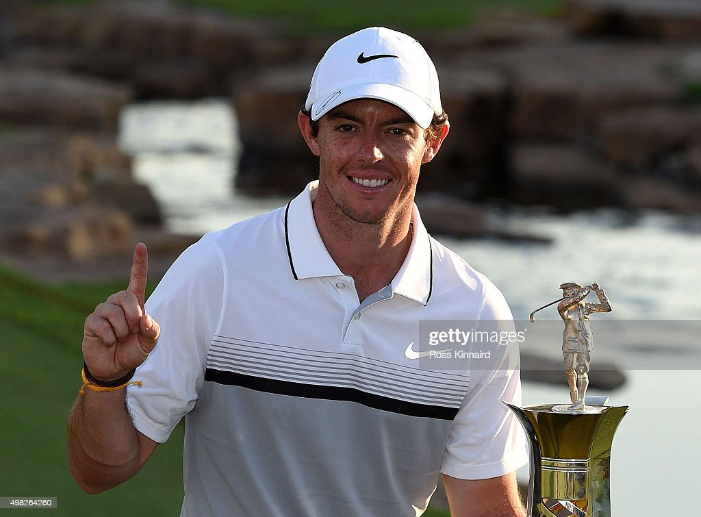 <a gi-track='captionPersonalityLinkClicked' href=/galleries/search?phrase=Rory+McIlroy&family=editorial&specificpeople=783109 ng-click='$event.stopPropagation()'>Rory McIlroy</a> of Northern Ireland celebrates with the Race to Dubai Trophy after the final round of the DP World Tour Championship on the Earth Course at Jumeirah Golf Estates on November 22, 2015 in Dubai, United Arab Emirates.