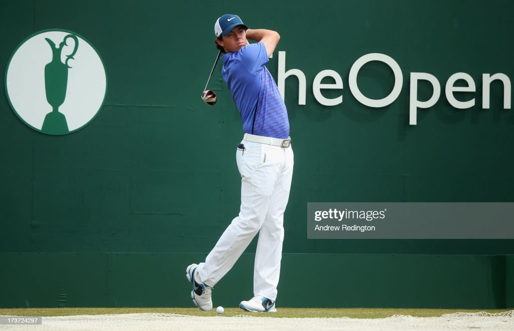 Rory McIlroy of Northern Ireland drives ahead of the 142nd Open Championship at Muirfield on July 17, 2013 in Gullane, Scotland.