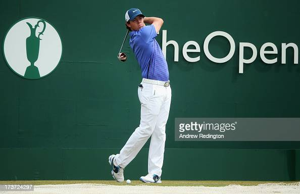 Rory McIlroy of Northern Ireland drives ahead of the 142nd Open Championship at Muirfield on July 17 2013 in Gullane Scotland