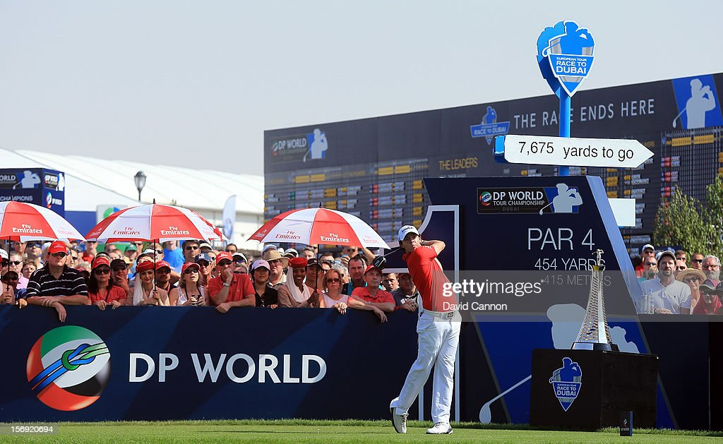 Rory McIlroy of Northern Ireland drives from the first tee during the final round of the 2012 DP World Tour Championship on the Earth Course at Jumeirah Golf Estates on November 25, 2012 in Dubai, United Arab Emirates.