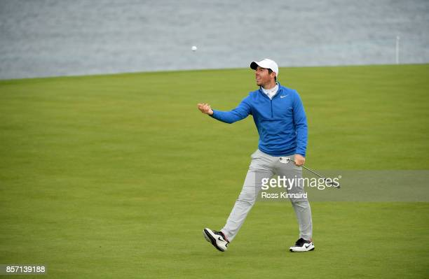 Rory McIlroy of Northern Ireland during a practice round prior to the 2017 Alfred Dunhill Links Championship at Kingsbarns on October 3 2017 in St...