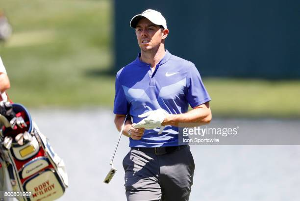 Rory McIlroy of Northern Ireland during the final round of the Travelers Championship on June 25 at TPC River Highlands in Cromwell Connecticut