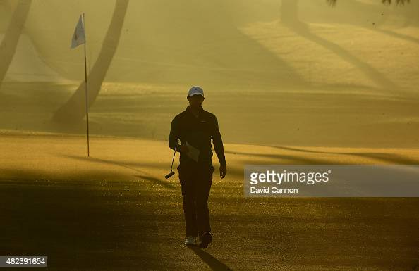 Rory McIlroy of Northern Ireland during the ProAm as a preview for the 2015 Dubai Desrt Classic on the Majlis Course at the Emirates Golf Club on...