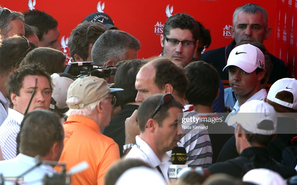 Rory McIlroy of Northern Ireland faces the press after missing the cut during the second round of the Abu Dhabi HSBC Golf Championship at the Abu Dhabi Golf Club on January 18, 2013 in Abu Dhabi, United Arab Emirates.