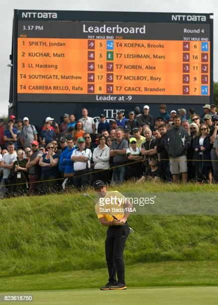 Rory McIlroy of Northern Ireland hits a putt on the tenth hole during the final round of the 146th Open Championship at Royal Birkdale on July 23...