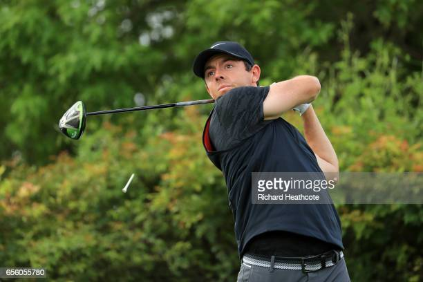 Rory McIlroy of Northern Ireland hits a shot during a practise round for the WGC Dell Match Play at Austin Country Club on March 21 2017 in Austin...