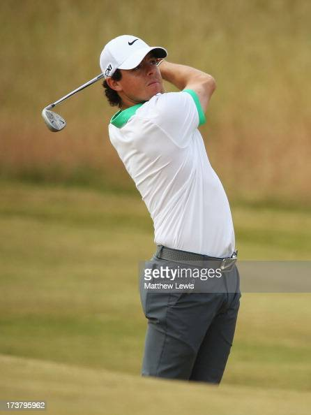 Rory McIlroy of Northern Ireland hits a shot during the first round of the 142nd Open Championship at Muirfield on July 18 2013 in Gullane Scotland