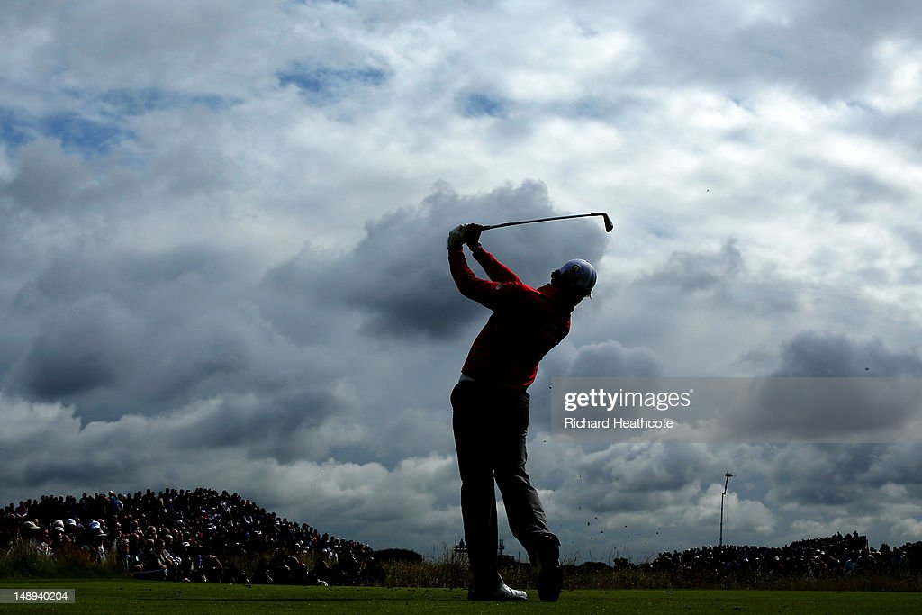 <a gi-track='captionPersonalityLinkClicked' href=/galleries/search?phrase=Rory+McIlroy&family=editorial&specificpeople=783109 ng-click='$event.stopPropagation()'>Rory McIlroy</a> of Northern Ireland hits a shot on the fifth hole during the second round of the 141st Open Championship at Royal Lytham & St Annes Golf Club on July 20, 2012 in Lytham St Annes, England.