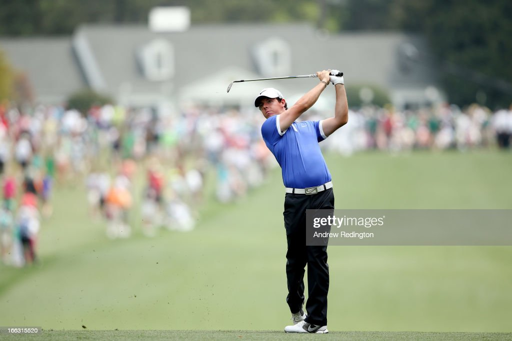 Rory McIlroy of Northern Ireland hits a shot on the first hole during the first round of the 2013 Masters Tournament at Augusta National Golf Club on April 11, 2013 in Augusta, Georgia.