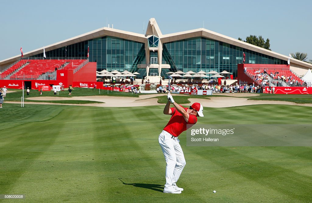 Rory McIlroy of Northern Ireland hits a shot to the ninth green during the first round of the Abu Dhabi HSBC Golf Championship at the Abu Dhabi Golf Club on January 21, 2016 in Abu Dhabi, United Arab Emirates.