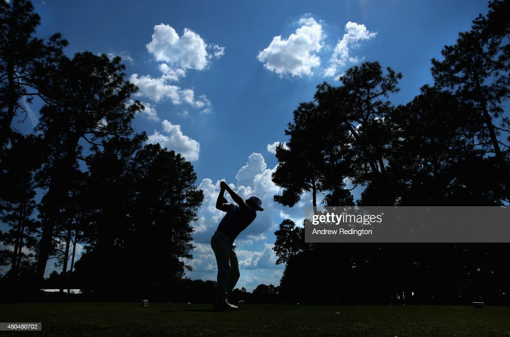 Rory McIlroy of Northern Ireland hits a tee shot during a practice round prior to the start of the 114th U.S. Open at Pinehurst Resort & Country Club, Course No. 2 on June 11, 2014 in Pinehurst, North Carolina.