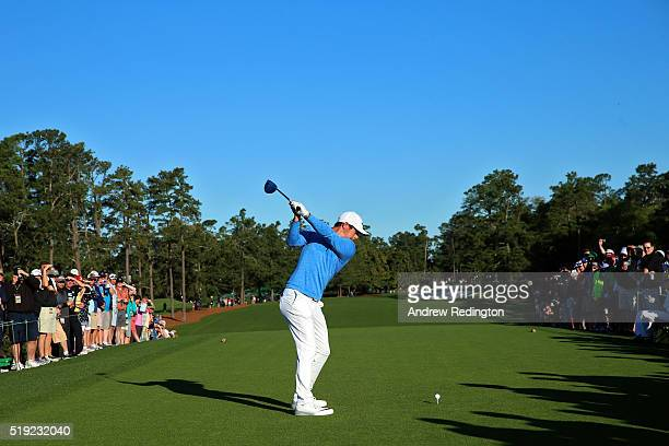 Rory McIlroy of Northern Ireland hits a tee shot during a practice round prior to the start of the 2016 Masters Tournament at Augusta National Golf...