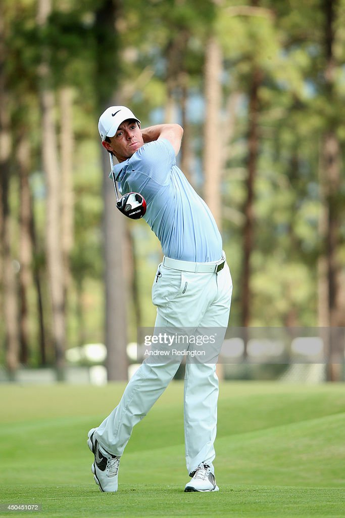 Rory McIlroy of Northern Ireland hits a tee shot in swing sequence 16 of 17 on the 13th hole during a practice round prior to the start of the 114th U.S. Open at Pinehurst Resort & Country Club, Course No. 2 on June 11, 2014 in Pinehurst, North Carolina.