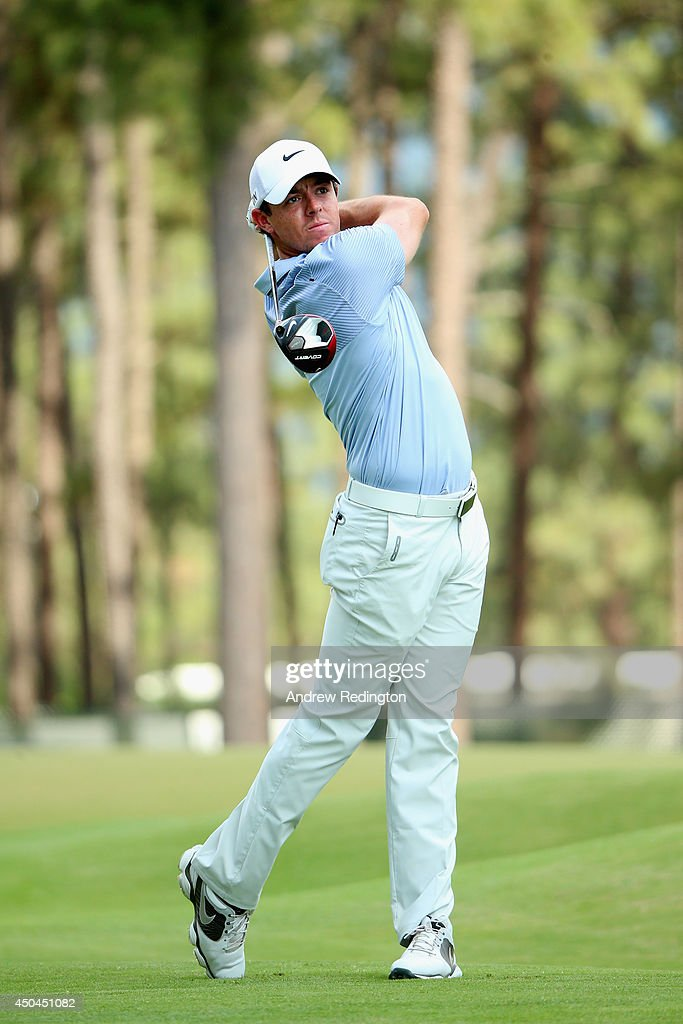 Rory McIlroy of Northern Ireland hits a tee shot in swing sequence 17 of 17 on the 13th hole during a practice round prior to the start of the 114th U.S. Open at Pinehurst Resort & Country Club, Course No. 2 on June 11, 2014 in Pinehurst, North Carolina.