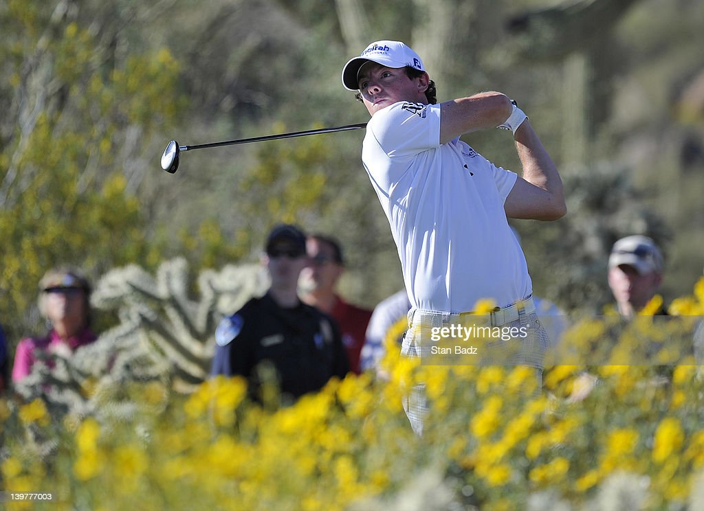 Rory McIlroy of Northern Ireland hits a tee shot on the 17th hole during the third round of the World Golf ChampionshipsAccenture Match Play...