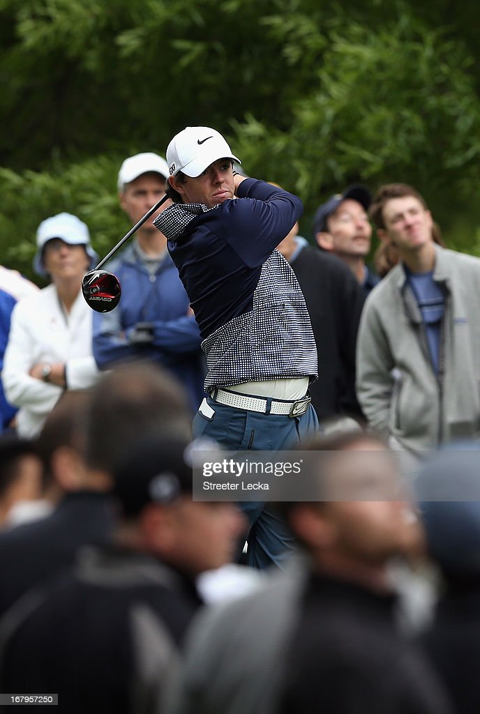 Rory McIlroy of Northern Ireland hits a tee shot on the 3rd hole during the second round of the Wells Fargo Championship at Quail Hollow Club on May 3, 2013 in Charlotte, North Carolina.