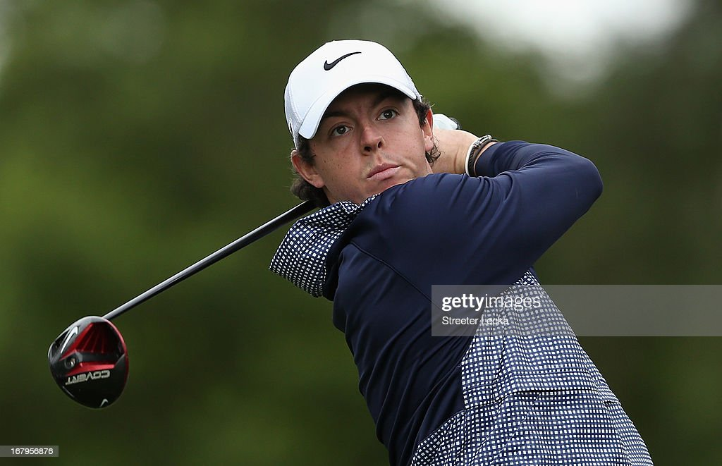 Rory McIlroy of Northern Ireland hits a tee shot on the 4th hole during the second round of the Wells Fargo Championship at Quail Hollow Club on May 3, 2013 in Charlotte, North Carolina.