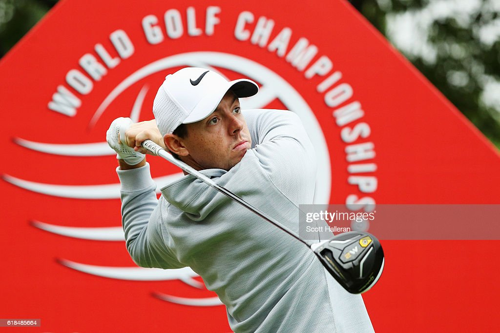Rory McIlroy of Northern Ireland hits a tee shot on the tenth hole, his opening shot during the first round of the WGC - HSBC Champions at the Sheshan International Golf Club on October 27, 2016 in Shanghai, China.