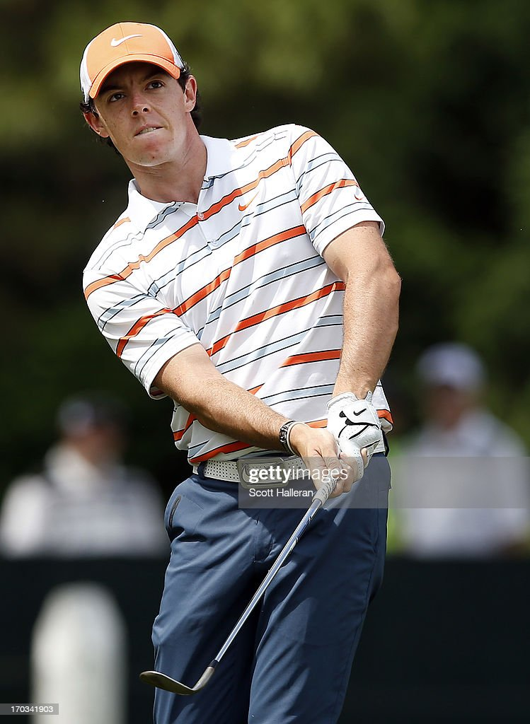 Rory McIlroy of Northern Ireland hits an approach shot during a practice round prior to the start of the 113th U.S. Open at Merion Golf Club on June 11, 2013 in Ardmore, Pennsylvania.