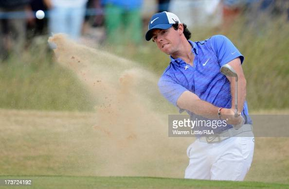 Rory McIlroy of Northern Ireland hits from a bunker ahead of the 142nd Open Championship at Muirfield on July 17 2013 in Gullane Scotland